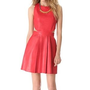 NWOT Sally LaPointe red leather skater dress